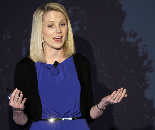 Yahoo CEO Marissa Mayer speaks during a news conference Monday, May 20, 2013, in New York. Yahoo edged up 31 cents, or 1.2 percent, to $26.83 after the Internet company said it was buying online blogging forum Tumblr for $1.1 billion. (AP Photo/Frank Franklin II)