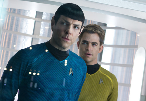 """This undated publicity film image released by Paramount Pictures shows, Zachary Quinto, left, as Spock and Chris Pine as Kirk in a scene in the movie, """"Star Trek Into Darkness,"""" from Paramount Pictures and Skydance Productions. The three astronauts in the International Space Station were offered a sneak peak of the movie days before it opens Thursday, May 16, 2013 on Earth. (AP Photo/Paramount Pictures, Zade Rosenthal)"""