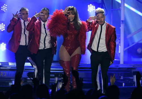 Jennifer Lopez, third from left, performs at the Billboard Music Awards at the MGM Grand Garden Arena on Sunday, May 19, 2013 in Las Vegas. (Photo by Chris Pizzello/Invision/AP)