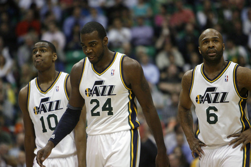 Chris Detrick  |  The Salt Lake Tribune Utah Jazz point guard Alec Burks (10) Utah Jazz power forward Paul Millsap (24) and Utah Jazz point guard Jamaal Tinsley (6) walk off of the court during the first half of the game at EnergySolutions Arena Friday April 12, 2013. Minnesota Timberwolves are winning the game 54-53 at halftime.