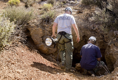 Trent Nelson  |  The Salt Lake Tribune Investigators from the West Valley City police department search abandoned mine shafts west Ely, Nevada, on Friday August 19, 2011 as part of the investigation into the 2009 disappearance of Susan Powell,