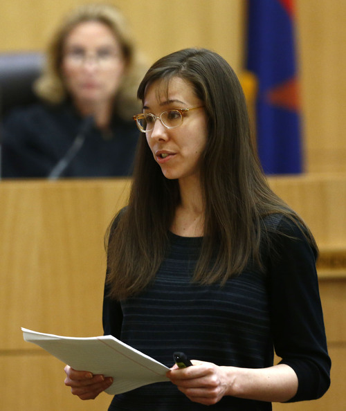 Jodi Arias addresses the jury on Tuesday, May 21, 2013, during the penalty phase of her murder trial at Maricopa County Superior Court in Phoenix.  Jodi Arias was convicted of first-degree murder in the stabbing and shooting to death of Travis Alexander, 30, in his suburban Phoenix home in June 2008. (The Arizona Republic, Rob Schumacher, Pool)