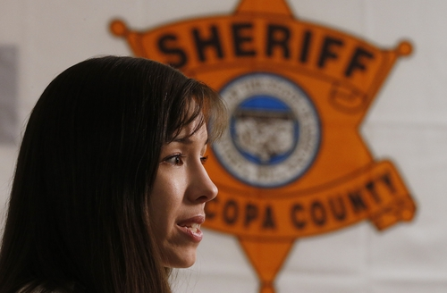 Convicted killer Jodi Arias speaks during an interview at the Maricopa County Estrella Jail on Tuesday, May 21, 2013, in Phoenix.  Arias was convicted recently of killing her former boyfriend Travis Alexander in his suburban Phoenix home back in 2008, made a plea in court on Tuesday for life in prison, instead of execution, saying she can contribute to society if allowed to live. (AP Photo/Ross D. Franklin)