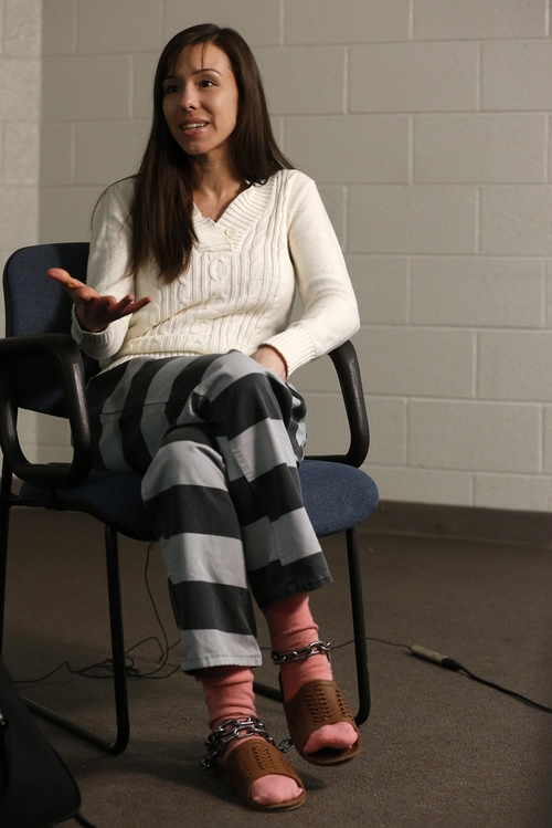 Convicted killer Jodi Arias speaks during an interview at the Maricopa County Estrella Jail on Tuesday, May 21, 2013, in Phoenix.  Arias was convicted recently of killing her former boyfriend Travis Alexander in his suburban Phoenix home back in 2008, made a plea in court Tuesday for life in prison, instead of execution, saying she can contribute to society if allowed to live. (AP Photo/Ross D. Franklin)