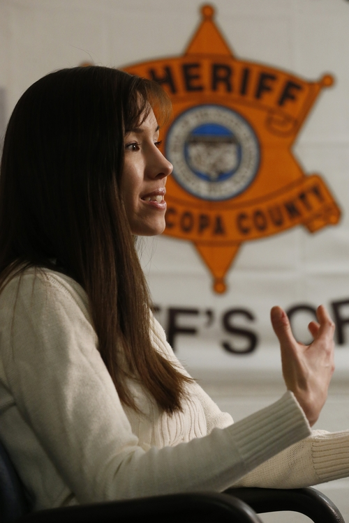 Convicted killer Jodi Arias speaks during an interview at the Maricopa County Estrella Jail on Tuesday, May 21, 2013, in Phoenix.  Arias was convicted recently of killing her former boyfriend Travis Alexander in his suburban Phoenix home back in 2008, made a plea for life in prison, instead of execution, saying she can contribute to society if allowed to live. (AP Photo/Ross D. Franklin)