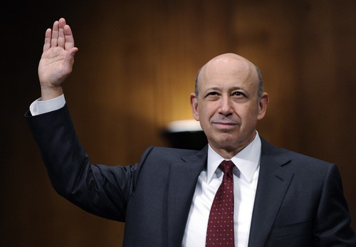 Goldman Sachs chairman and chief executive officer Lloyd Blankfein is sworn in to testify before the Senate Subcommittee on Investigations hearing on Wall Street investment banks and the financial crisis on Capitol Hill in Washington, Tuesday, April 27, 2010. (AP Photo/Susan Walsh