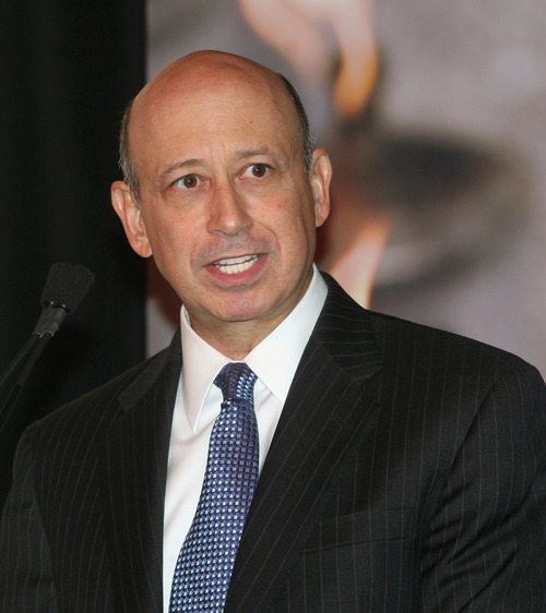 ** FILE ** In this Sept. 25, 2008 file photo, Lloyd C. Blankfein, CEO of Goldman Sachs, speaks at a luncheon on gender equality and empowerment of women at United Nations headquarters in New York.  Banks that are getting taxpayer bailouts awarded their top executives nearly $1.6 billion in salaries, bonuses, and other benefits last year, an Associated Press analysis reveals.  Blankfein, president and chief executive officer of Goldman Sachs, took home nearly $54 million in compensation last year. The company's top five executives received a total of $242 million.  (AP Photo/David Karp)