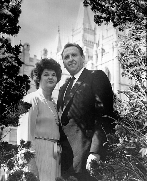 Photo courtesy of The Church of Jesus Christ of Latter-Day Saints President Thomas S. Monson and his wife, Frances, in front of the Salt Lake Temple, where they married Oct. 7, 1948.