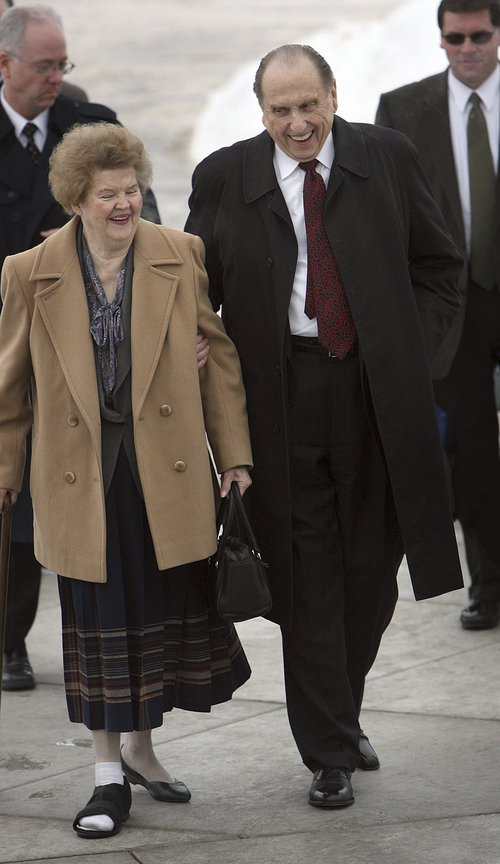 Frances Monson, left, was with her husband, LDS President Thomas S. Monson at the dedication of the Rexburg, Idaho, temple in 2008. Frances Monson died May 17, 2013. She was 85.