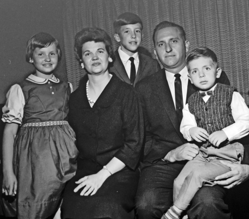 Courtesy | Utah State Historical Society Tribune Collection  Thomas S. Monson and Family taken on Oct 4 or 5, 1963 at the time he was called to the 12.