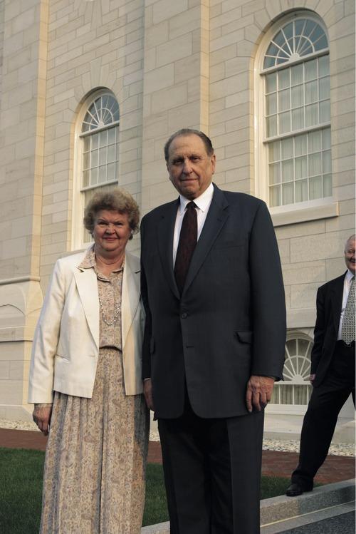 Frances Johnson Monson and LDS Church President Thomas S. Monson outside the Nauvoo temple