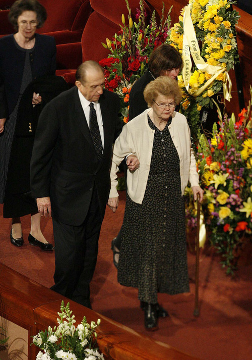 Paul Fraughton | The Salt Lake Tribune President Thomas S. Monson  and his wife Frances at the funeral services for LDS Church President Gordon B. Hinckley held on February 2, 2008 at the LDS Conference Center in Salt Lake.