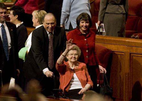 Kim Raff | The Salt Lake Tribune LDS President Thomas S. Monson and his wife Frances Monson leave the morning session of the 183rd General Conference of the LDS Church in 2012.