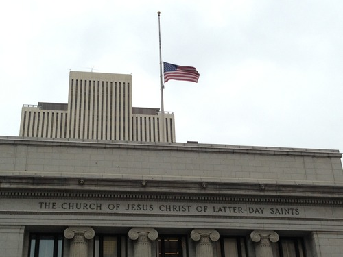 Trent Nelson | The Salt Lake Tribune The flag flies at half staff at the LDS Church administration building Friday morning. Frances B. Monson, the wife of LDS Church President Thomas S. Monson, has died. She was 85.