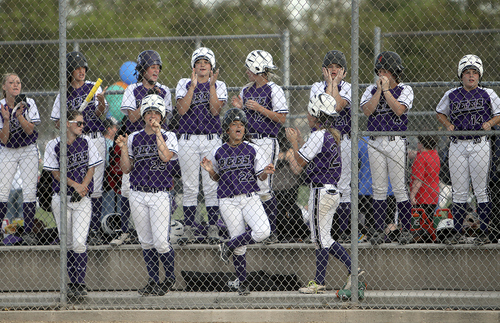Keith Johnson | The Salt Lake Tribune  The Box Elder dugout cheers for their base-runners during the 4A softball championship game May 23, 2013. Salem Hills beat Box Elder for the title.