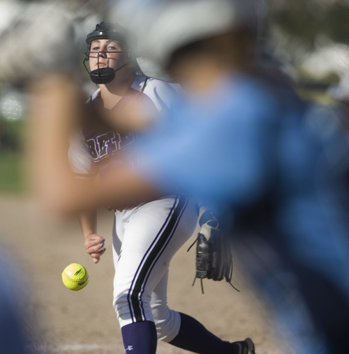 Keith Johnson | The Salt Lake Tribune  Box Elder pitcher Abigayle Martin delivers the ball to the plate during the 4A softball championship game May 23, 2013. Salem Hills eventually beat Box Elder for the title.