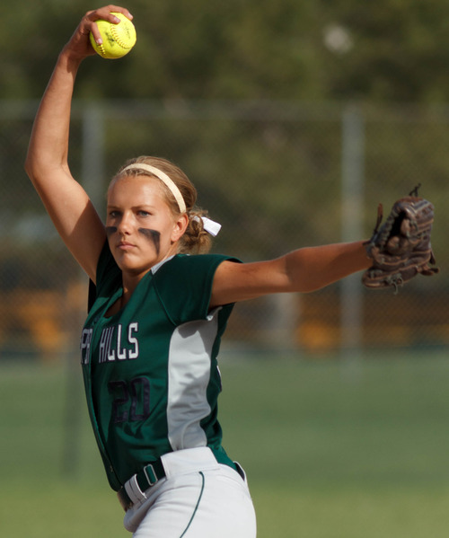 Trent Nelson  |  The Salt Lake Tribune Copper Hills' pitcher Payten Davies in action as Copper Hills defeats Bingham High School in the 5A softball tournament in Taylorsville Wednesday May 22, 2013. Alta Academy.