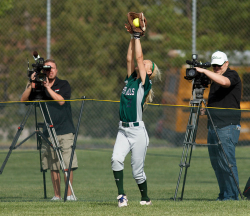 Trent Nelson  |  The Salt Lake Tribune Copper Hills' Skylar Cook makes a catch as Copper Hills defeats Bingham High School in the 5A softball tournament in Taylorsville Wednesday May 22, 2013. Alta Academy.