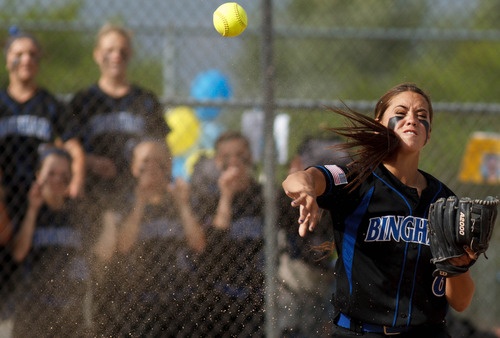 Trent Nelson  |  The Salt Lake Tribune Bingham's Shea Ibrahim throws the ball to first as Copper Hills defeats Bingham High School in the 5A softball tournament in Taylorsville Wednesday May 22, 2013. Alta Academy.