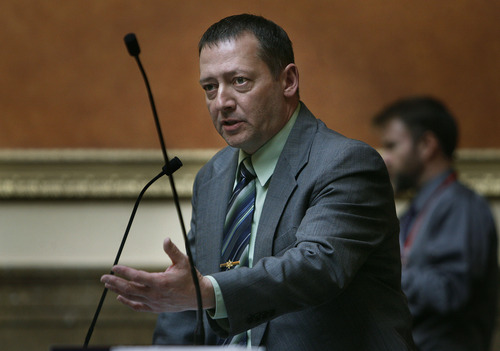Scott Sommerdorf   |  The Salt Lake Tribune Rep. Paul Ray, R-Clearfield, speaks about his bill HB268 - Disorderly Conduct Amendments - in the Utah House of Representatives, Thursday, February 28, 2013.