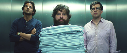 "Bradley Cooper as Phil, left, Zach Galifianakis as Alan, center, and Ed Hlems as Stu appear in Warner Bros. Pictures, ""The Hangover Part III."""