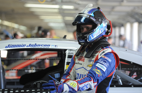 Jimmie Johnson prepares for practice for Sunday's NASCAR Sprint Cup series Coca-Cola 600 auto race at Charlotte Motor Speedway in Concord, N.C., Saturday, May 25, 2013. (AP Photo/Mike McCarn)