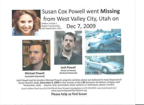 A copy of the flyer Chuck Cox will distribute in his continued search for Susan Powell. Courtesy image