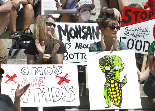 Scott Sommerdorf   |  The Salt Lake Tribune A demonstration to protest agribusiness Monsanto's genetically modified foods was held Saturday at the Utah State Capitol.