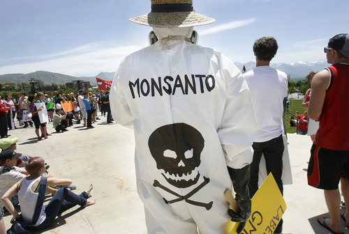 Scott Sommerdorf  |  The Salt Lake Tribune A demonstration against genetically modified foods produced by Monsanto seeds was held at the Utah Capitol on Saturday. Other protests were held around the United States and in other countries.