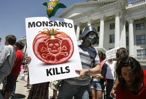 Scott Sommerdorf   |  The Salt Lake Tribune Loren Twede, as Darth Vader, was one of hundreds of people who participated in the March Against Monsanto at the Utah State Capitol on Saturday. The protesters said they wanted to draw attention to the dangers of gentically modified foods.