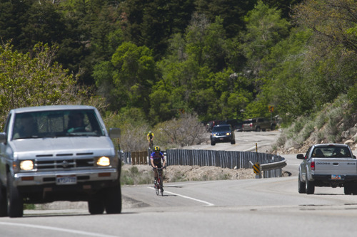 Chris Detrick  |  The Salt Lake Tribune A cyclists bike in Little Cottonwood Canyon Saturday May 25, 2013.