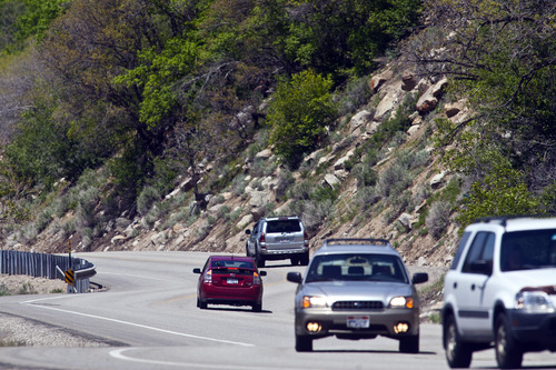Chris Detrick  |  The Salt Lake Tribune Traffic in the 'Seven Sisters' area in Little Cottonwood Canyon Saturday May 25, 2013.