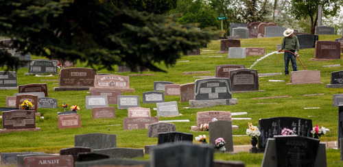 Trent Nelson     The Salt Lake Tribune Monuments and grave markers at the Salt Lake City Cemetery, Friday May 17, 2013.