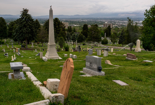 Trent Nelson  |  The Salt Lake Tribune Monuments and grave markers at the Salt Lake City Cemetery, Friday May 17, 2013.