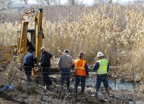 Al Hartmann  |  Tribune file photo Workers look at an impacted area from a leak from a Chevron pipeline between Willard Bay North Marina and I-15 Tuesday March 19.  The leak was detected Monday.