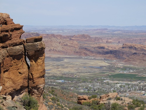 Nate Carlisle  |  The Salt Lake Tribune The Moab Arts Festival is May 25 and 26, 2013. In this photo, Moab is seen from the overlook on the Moab Rim Trail.