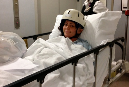 On March 1, Nikki Breedlove heads to her new digs at Weill Cornell Medical Center's acute rehab, in New York City. She joked to her mom that the look at New York Fashion Week this year is helmet, book cast and walker. Courtesy of Sheila Haas