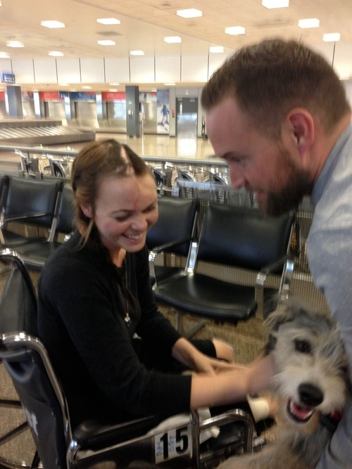 Courtesy of Sheila Haas On March 14, Nikki Breedlove had a layover at the Salt Lake City airport on her way to her mother's house in Sanger, Calif. Longtime friend Cody Derrick was there with Breedlove's pooch, Pearl, for a happy reunion.