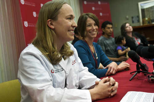 Chris Detrick  |  The Salt Lake Tribune Tracy Manuck, M.D., Maternal Fetal Medicine, speaks during a press conference at the University of Utah Hospital Tuesday, May 28, 2013. The doctor was among the team that helped welcome quintuplets to the world over Memorial weekend.