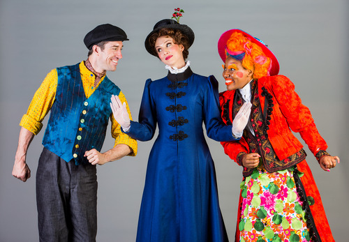 Left to right: Jesse Swimm as Burt,  Gail Bennett as Mary Poppins, and Joël René as Mrs. Corry. Courtesy image.