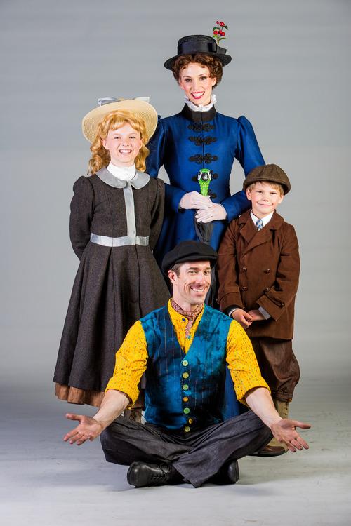 Clockwise:  Lauren Allen as Jane Banks, Gail Bennett as Mary Poppins,  Grant Westcott as Michael Banks, and Jesse Swimm as Burt. Courtesy image.