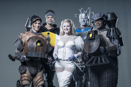 """L to R Steven M. Goldsmith as Rusty, Todd Dubail as Greaseball, Delaney Westfall as Pearl, Dustin Debreuil as Electra and C. Mingo Long as Poppa from """"Starlight Express."""" Courtesy image"""