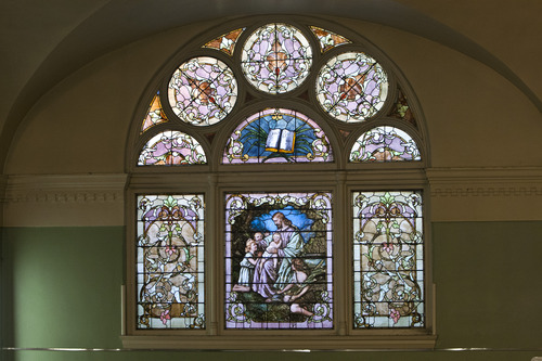 Chris Detrick  |  The Salt Lake Tribune Stained-glass windows at Iglesia La Luz del Mundo in Salt Lake City. Built in 1898, this historic building used to house the First Church of Christ, Scientist (Christian Science). Tuesday May 21, 2013.
