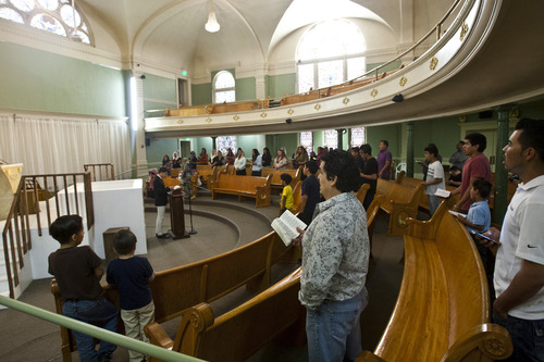 Chris Detrick  |  The Salt Lake Tribune Members participate in a worship service at Iglesia La Luz del Mundo in Salt Lake City. Built in 1898, this historic building used to house the First Church of Christ, Scientist (Christian Science). Tuesday May 21, 2013.