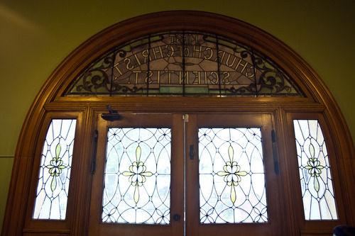 Chris Detrick  |  The Salt Lake Tribune The interior door of Iglesia La Luz del Mundo in Salt Lake City. Built in 1898, this historic building used to house the First Church of Christ, Scientist (Christian Science).