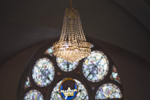 Chris Detrick  |  The Salt Lake Tribune Stained-glass windows and chandelier at Iglesia La Luz del Mundo. Built in 1898, this historic building used to house the First Church of Christ, Scientist (Christian Science).