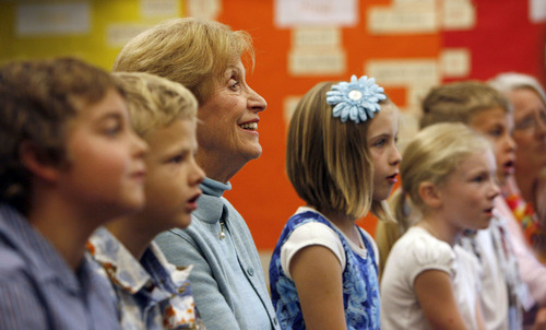 Tribune file photo Beverley Taylor Sorenson, a Utah philanthropist and advocate for the arts and education, died Monday at the age of 89 of natural causes. In this 2008 photo, she listens to the sweet songs of third-graders from Highland Park Elementary in Salt Lake.