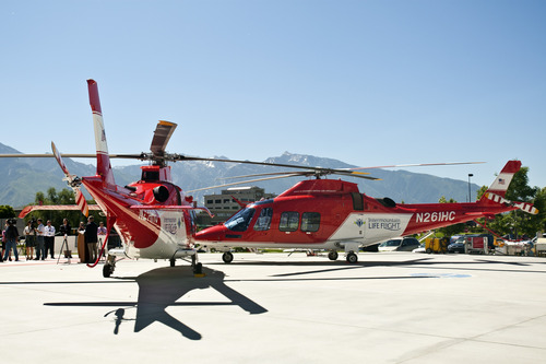 Chris Detrick  |  The Salt Lake Tribune Intermountain Life Flight program added three Agusta Grand helicopters to its fleet at the Intermountain Medical Center Wednesday June 20, 2012.  The helicopters have a top speed of 193 mph.