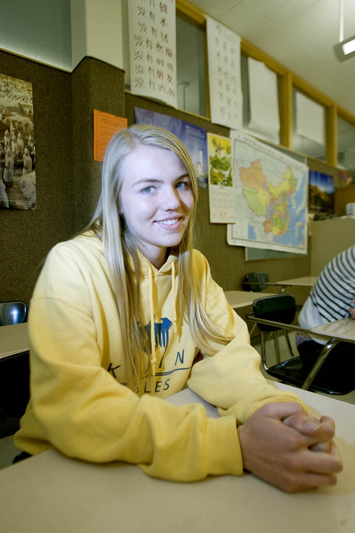 Paul Fraughton      Salt Lake Tribune Kelsey Paulding, a Skyline High student,  will be traveling to China this summer after winning a fellowship through the state department.                         Tuesday, May 28, 2013