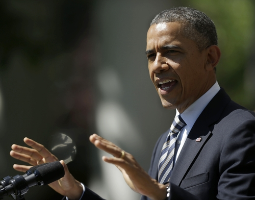 President Barack Obama speaks in the Rose Garden of the White House, in Washington May 31, 2013, where he called on Congress to keep federally subsidized student loans rates from doubling on July 1. (AP Photo/Pablo Martinez Monsivais)
